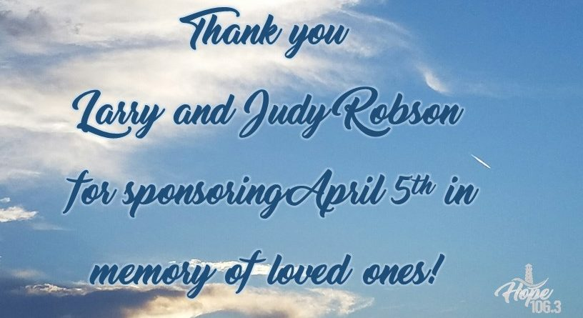 Thank you Larry and Judy Robson!