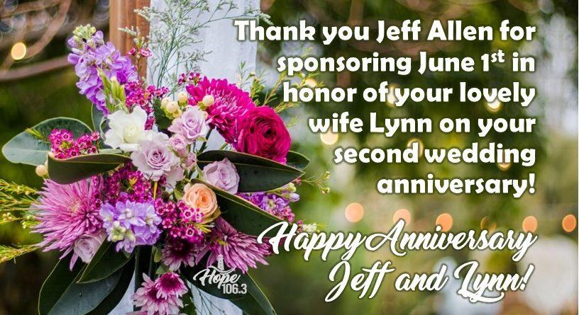 Happy Anniversary Jeff and Lynn!