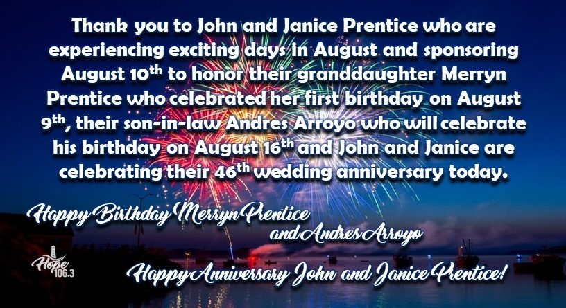 Thanks and Happy Anniversary John and Janice Prentice!