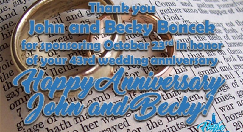 Happy Anniversary John and Becky!